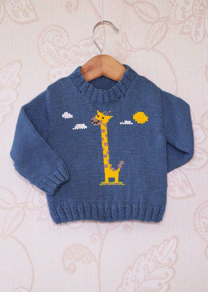 Intarsia - Tiny Giraffe Chart & Childrens Sweater Knitting pattern by Instarsia #children'ssweaters