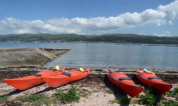 Kayaks at the sportscotland National Centre in Cumbrae