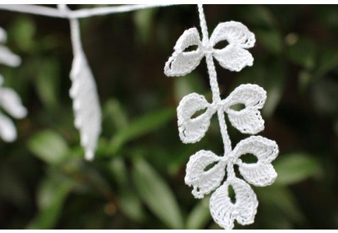 Crocheted leaf garland - white and elegant either inside or out.