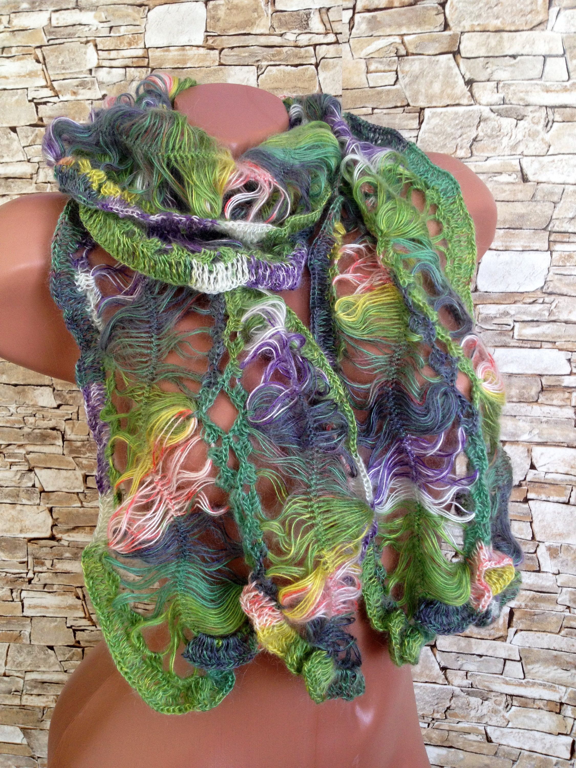 Crochet scarf Colorful mohair scarf Women long scarf Lime violet ...
