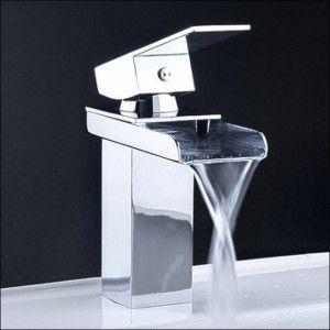 Exclusive Waterfall Bathroom Sink Faucet Brushed Nickel For Hotel