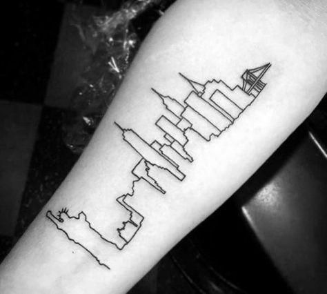 Http Nextluxury Com Wp Content Uploads New York City Skyline Black Ink Outline Mens Inner Fore Skyline Tattoo Half Sleeve Tattoos For Guys Nyc Skyline Tattoo