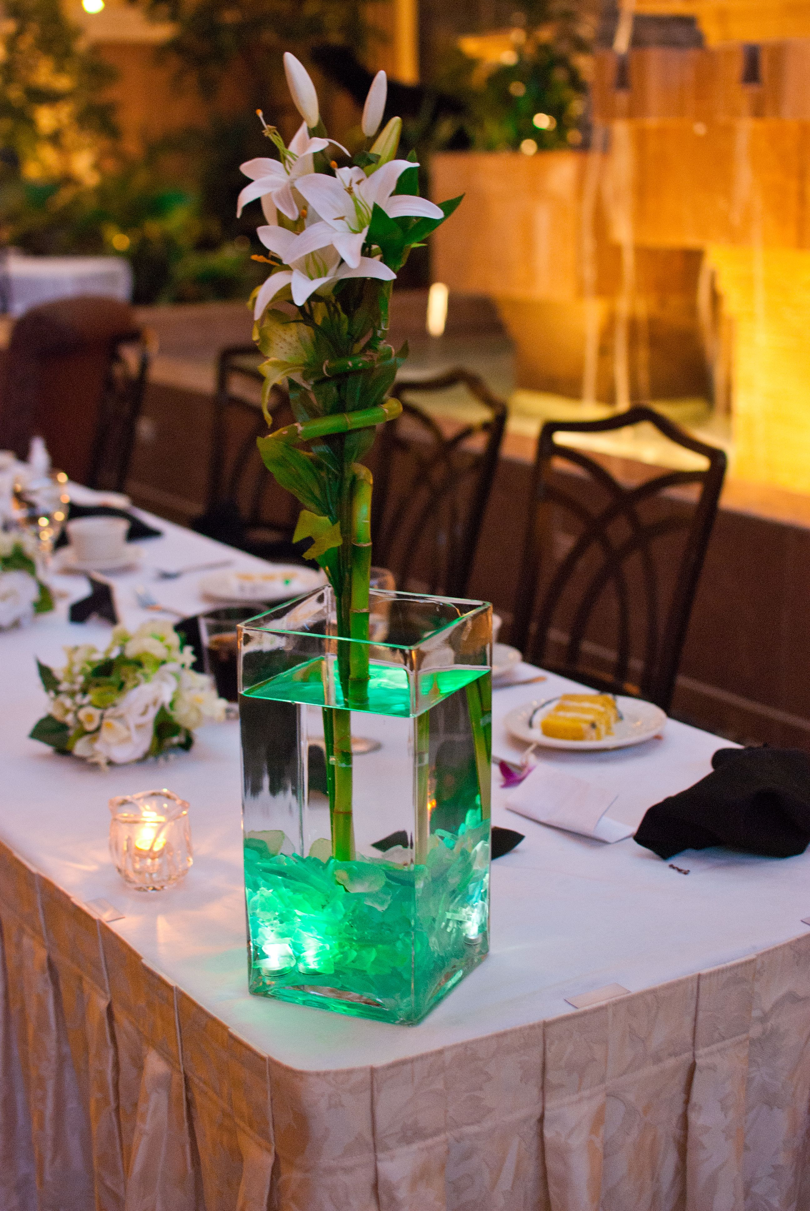 Wedding night decoration ideas  DIY bamboo and Lily centerpieces with cut sea glass and submersible