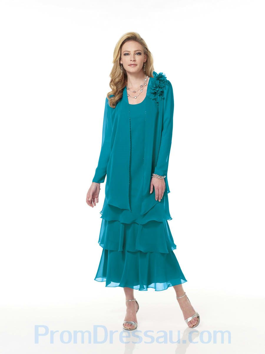 Mother Of The Bride Dresses Tea Length | ... Nice Turquoise Scoop ...