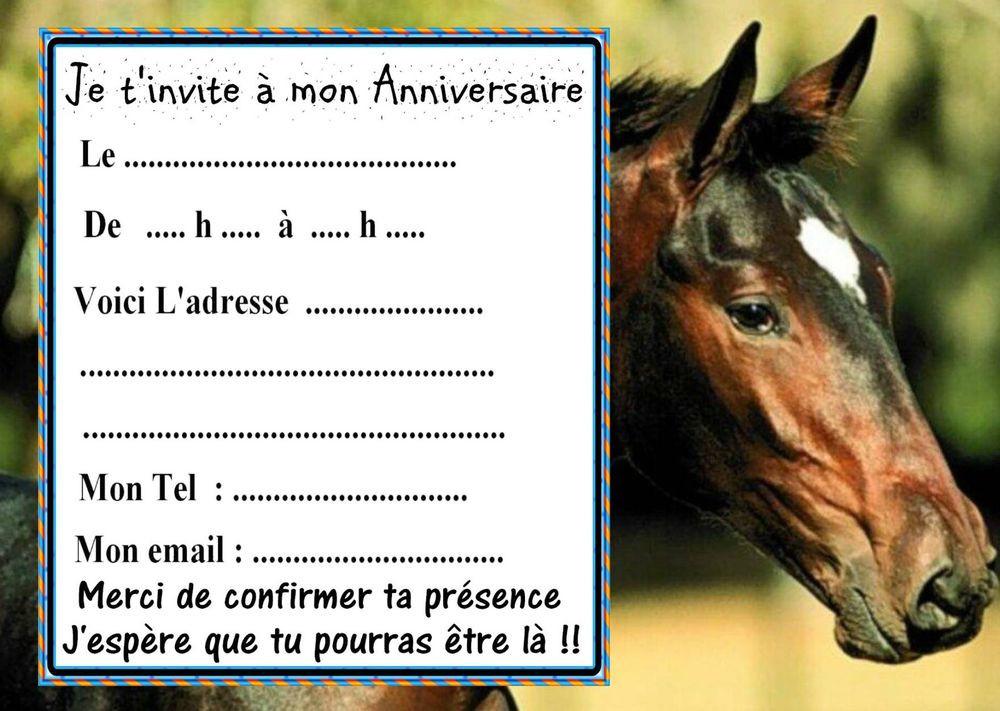 carte d invitation anniversaire chevaux