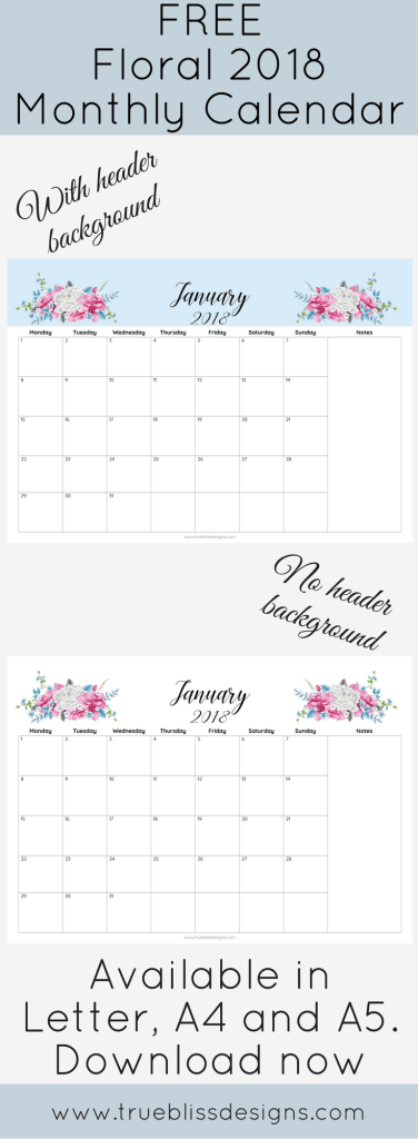 Floral Printable Monthly Calendar  Printable Monthly
