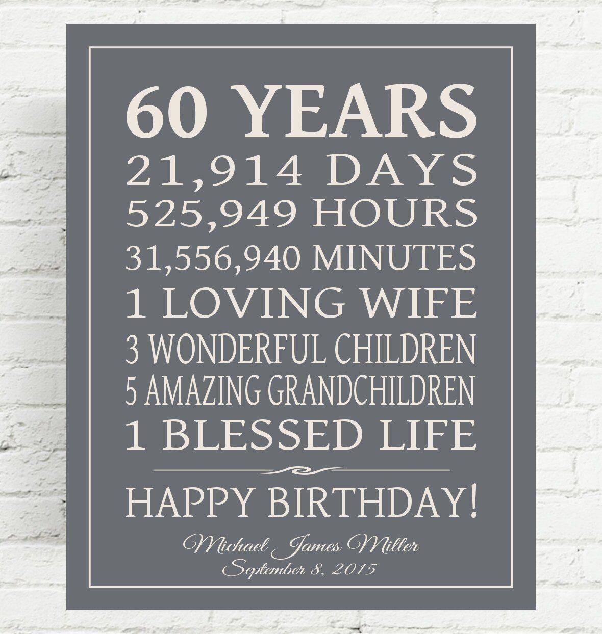 60th birthday gift sign dad birthday gift mom birthday