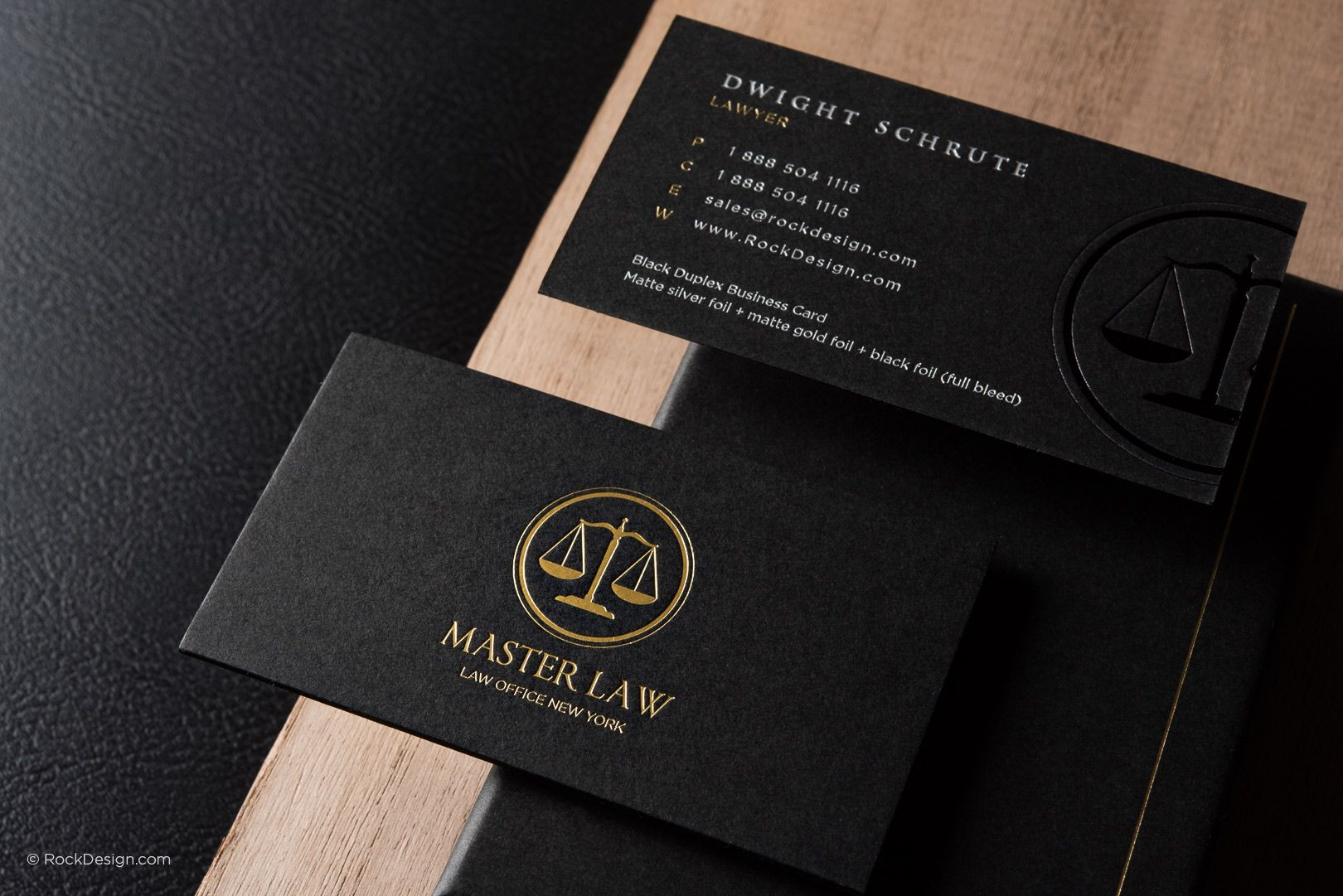 Classic modern black duplex attorney business card template - Master ...