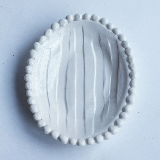 Flat Soap Dish with Beads (each sold separately) | Frances Palmer Pottery