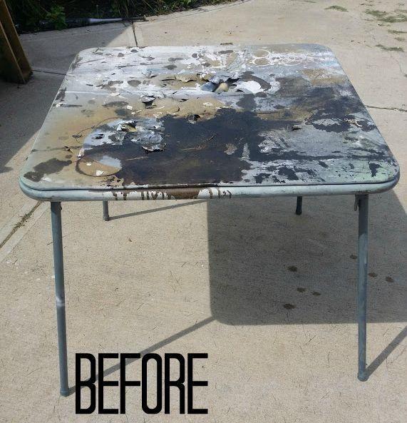 Diy Card Table Makeover Card Table Makeover Table Makeover Table Cards