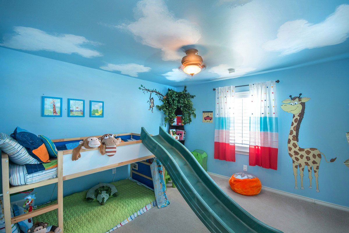 Awesome Kids Room Idea With Wooden Bunk Bed And Lovely Slide And Brown Carpet Also Cool Blue Wall Paint Color Cool Kids Bedrooms Blue Kids Room Cool Kids Rooms