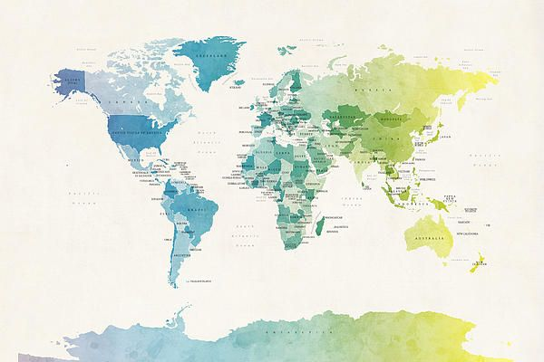 Watercolor map of the world | Wall art | Pinterest | Watercolor map ...