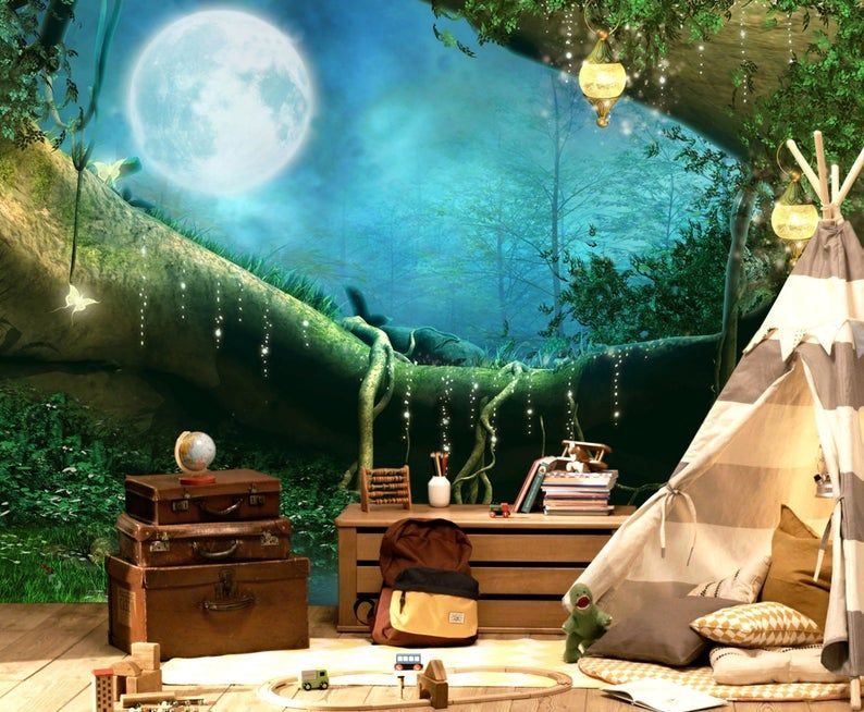Wallpaperadhesive Vinylfull Moonmagical Etsy In 2021 Large Wall Murals Wall Mural Decals Removable Wall Murals