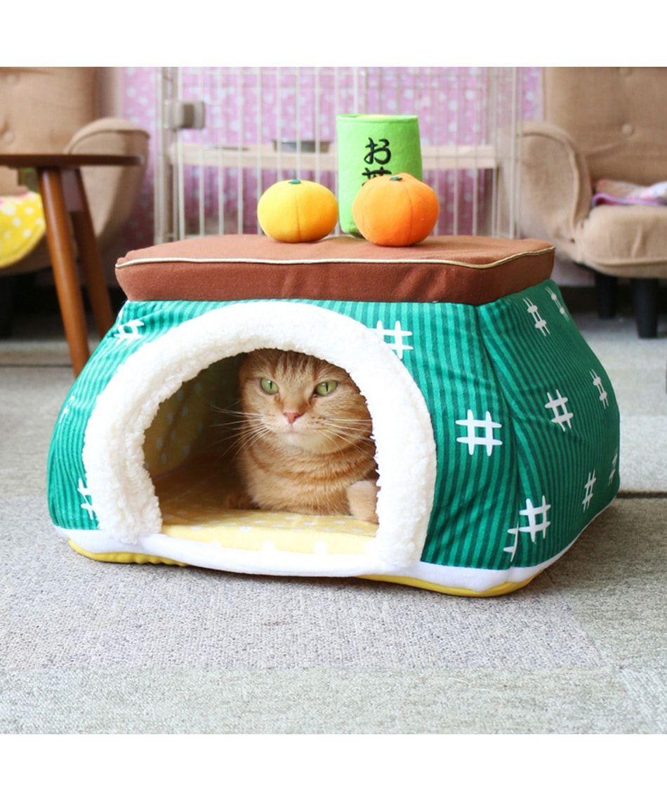 なりきりペッツ ペットハウスm こたつ緑 Pet Paradise 公式通販 オンワード クローゼット 猫 子猫 ペット 猫の家具