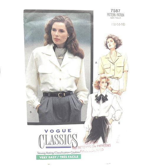 Vintage Vogue Classics 7587 Womens Petite Button Down Short or Long ...