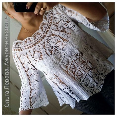 Long-sleeved crochet lace tunic  crochet  tunic