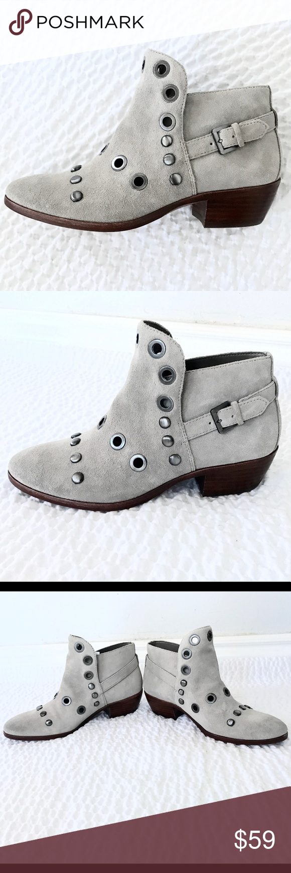 952c39a1d3cd8e ⭐️HP⭐ Sam Edelman embellished Pedra suede boots Sam Edelman Taupe Pedra  ankle boots -Heel measures approximately 45mm  2 inches -Genuine Suede  -Buckled ...