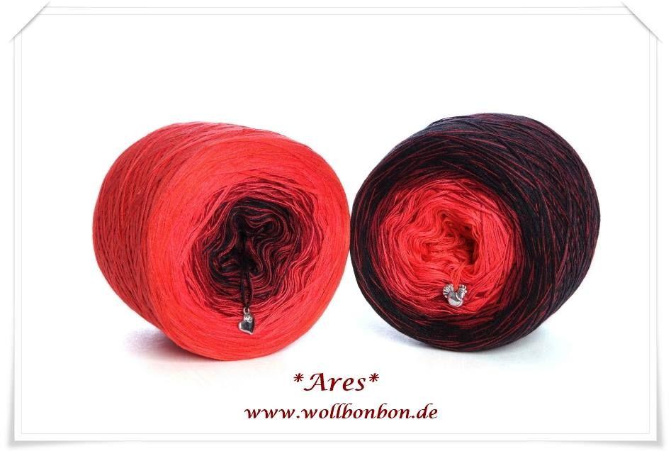 Wollbonbon *Ares* 50% Baumwolle/50% Acryl Farbverlauf : rost-hummer-malaga-schwarz