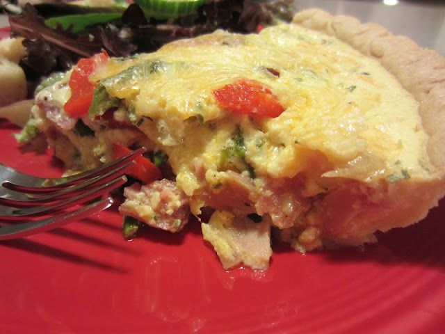 Ham and Asparagus Quiche ( recipe makes two...freeze one for another time!)