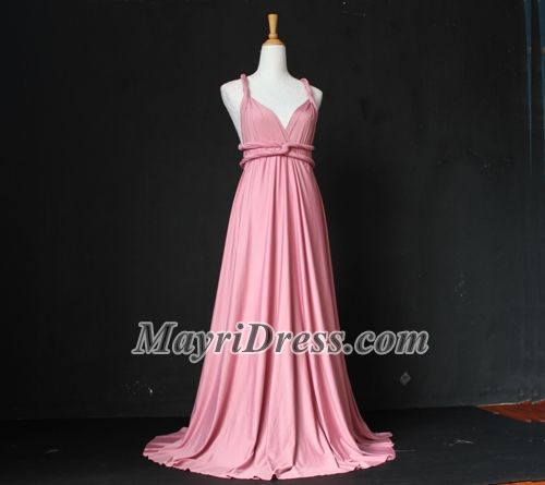 Bridesmaid Infinity Dress Dusty Pink or Pastel Peach Wrap Convertible Dress Evening Maxi Dress Evening Gown