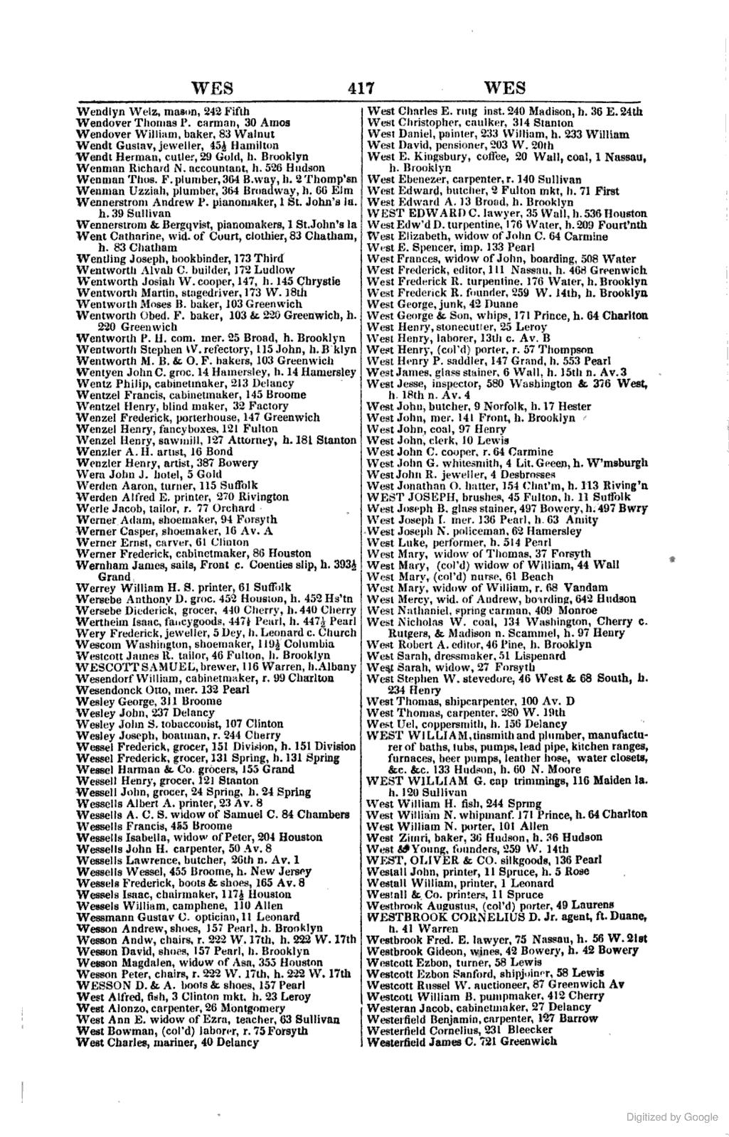 [1847]: WESTBROOK Gideon. WINES. 42 Bowery