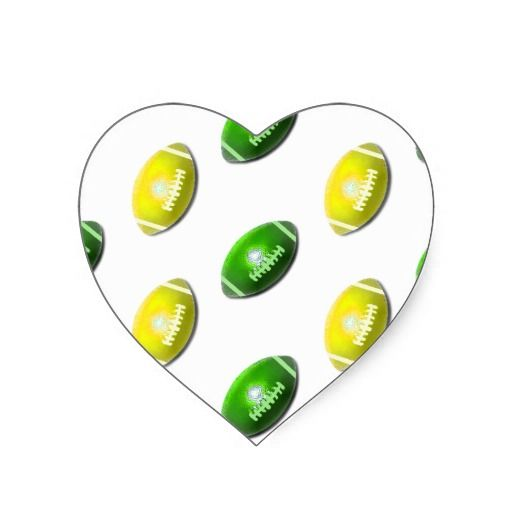 Yellow and Green Football Pattern Heart Sticker