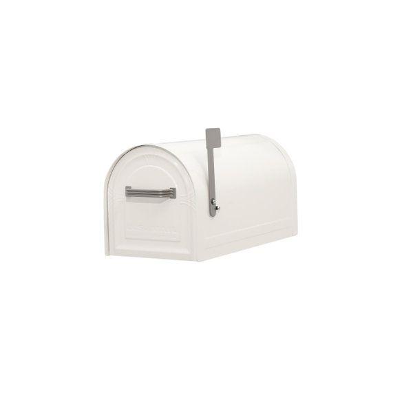 Gibraltar Mailboxes Wyngate Locking Post Mount Mailbox In White