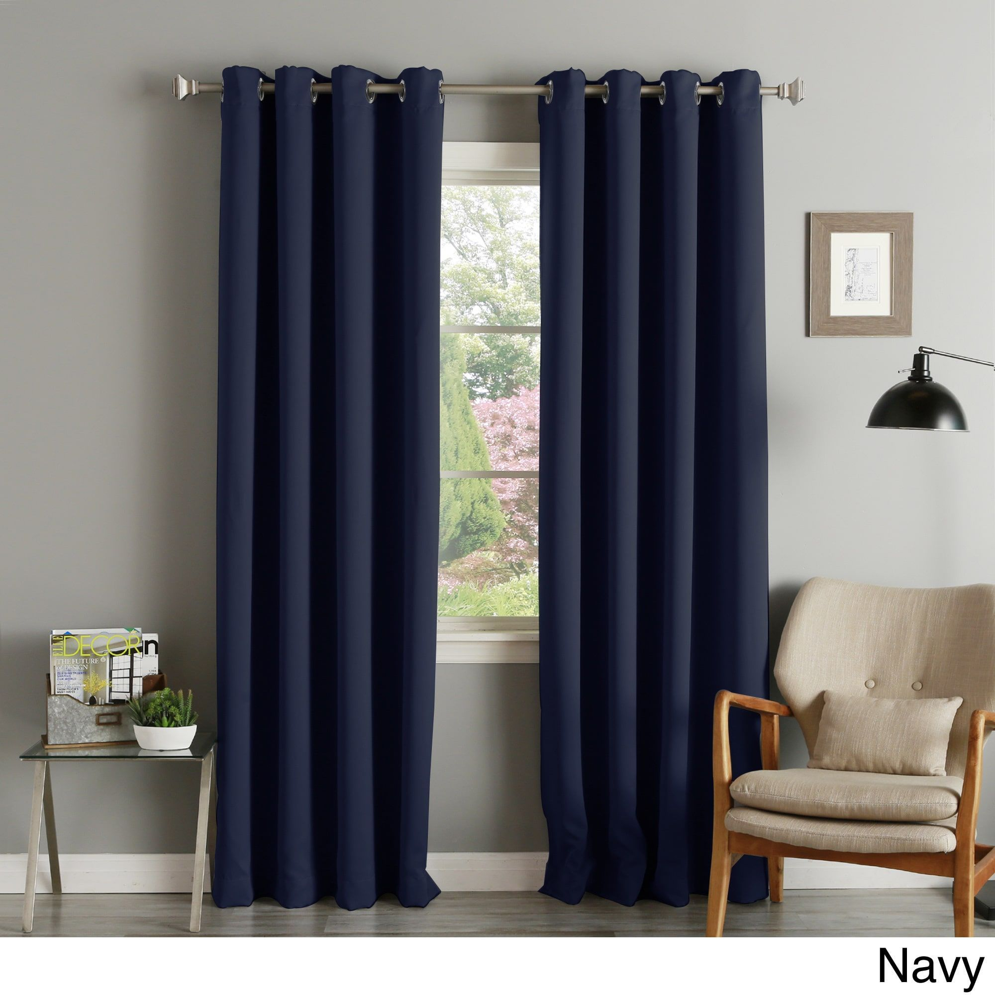Curtain pair overstock shopping great deals on lights out curtains - Aurora Home Silver Grommet Top Thermal Insulated 108 Inch Blackout Curtain Panel Pair Navy