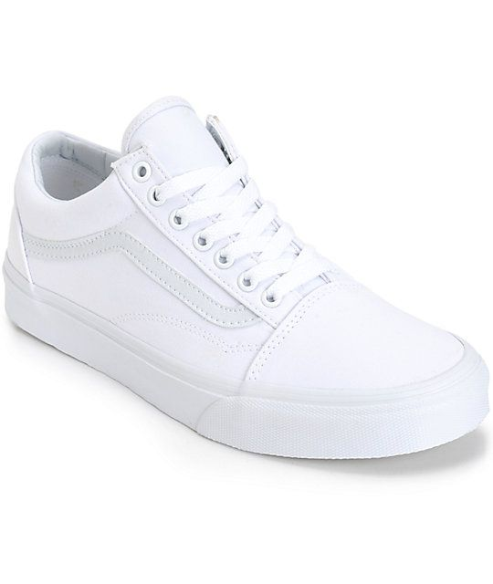 66f3290564d1 Snag some retro monotone style with an all white canvas upper with a classic  Vans waffle tread for grip and a vulcanized outsole for board feel.