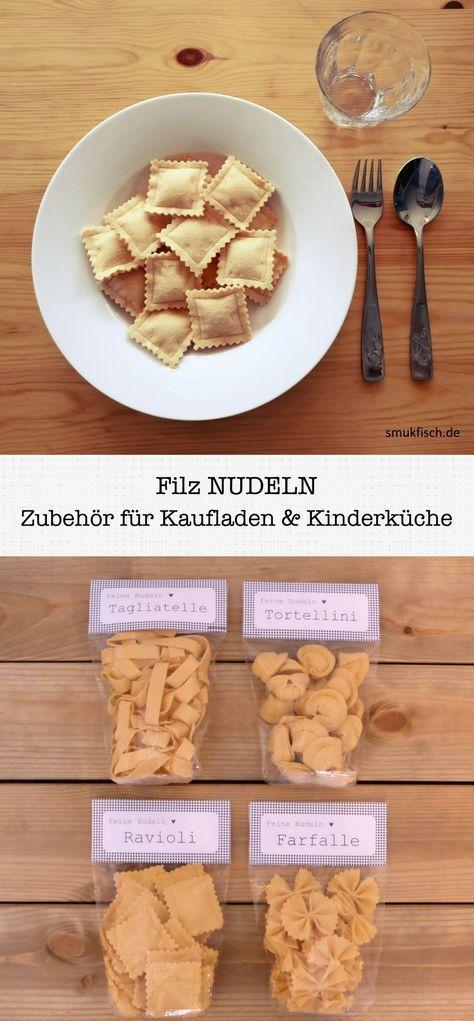 DIY Nudeln aus Filz. Zubehör für Kaufladen und Kinderküche selber nähen: Far…