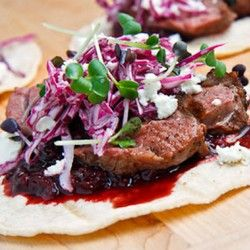 Need these in my life. Duck Tacos with Chipotle Cherry Salsa and Crumbled Goat Cheese