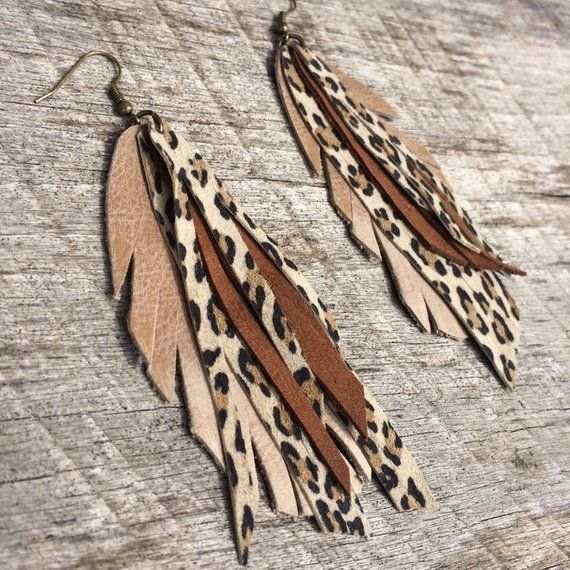 Photo of Long leather feather earrings with leopard leather – fringes – beige and brown …