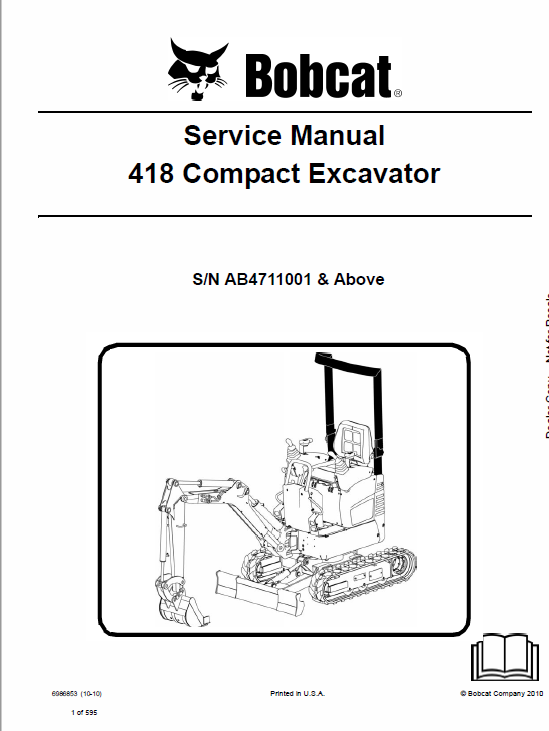 Bobcat 418 Compact Excavator Service Manual Operation And Maintenance Repair Manuals Excavator