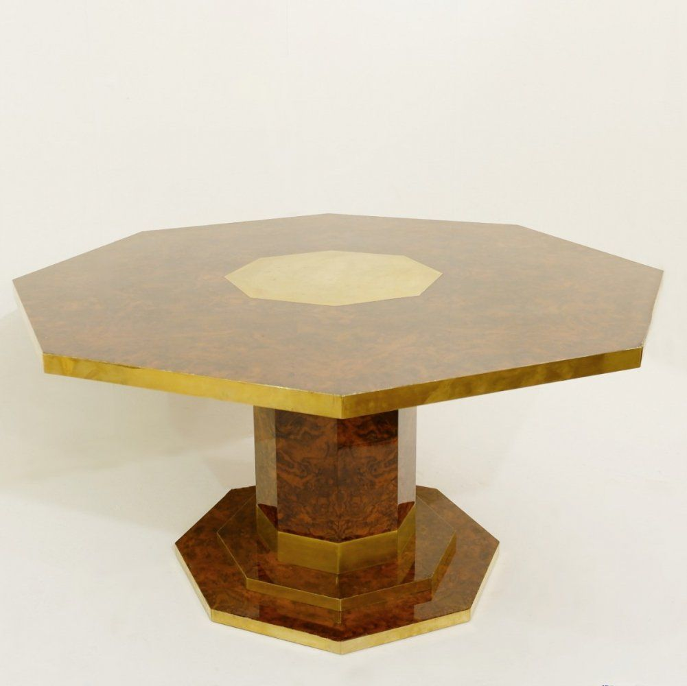 For Sale Jean Claude Mahey Cedar Burl Veneer And Brass Octagonal Dining Table 1970s Dining Table Table Dining