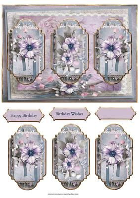 purple flowers panel card on Craftsuprint designed by Angela Wake - purple flowers panel card with toppers and sentiment tags.