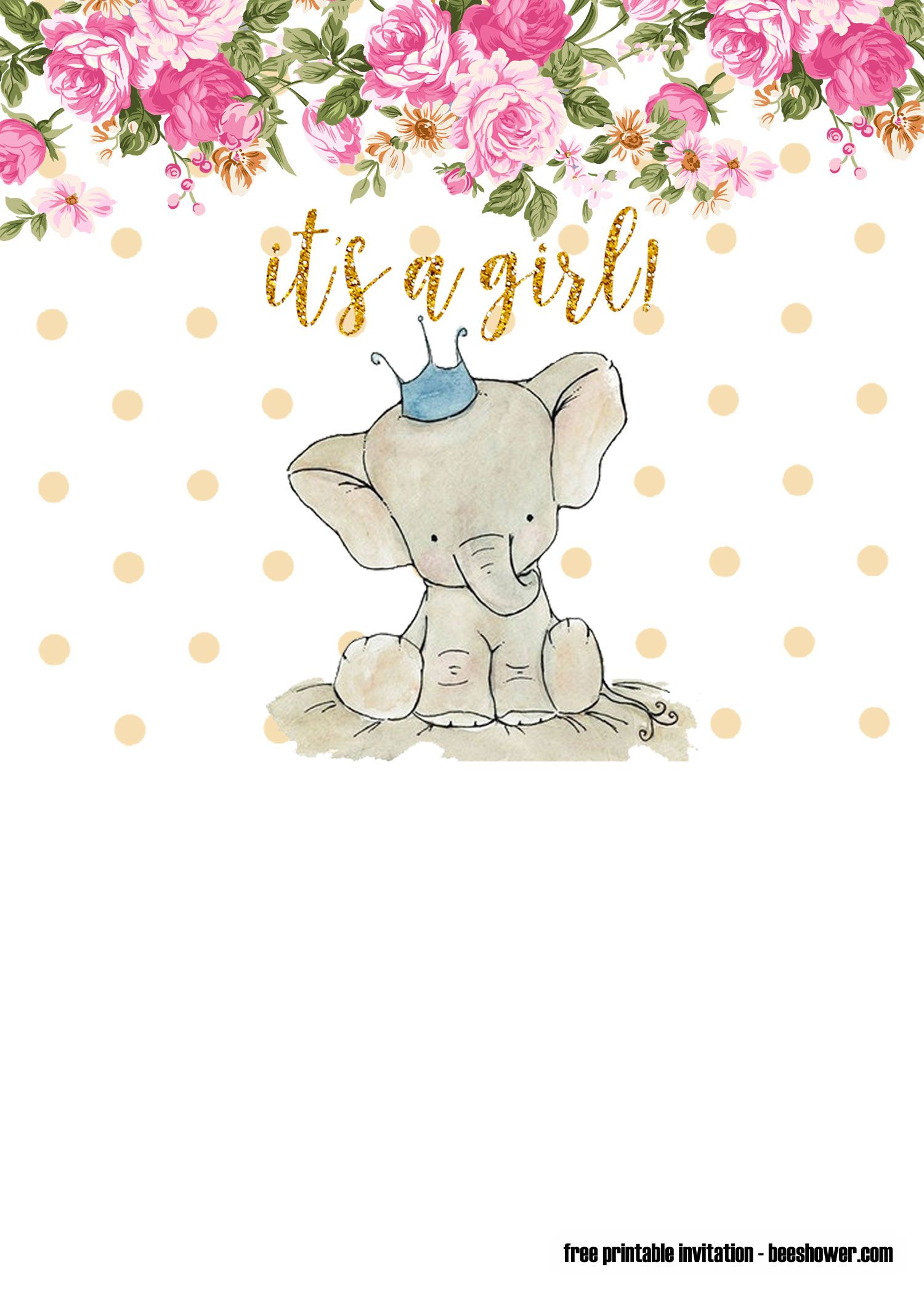 Pink Elephant Baby Shower Free Printables : elephant, shower, printables, Elephant, Invitation, Templates, Shower, Invitations,, Templates,, Invitations