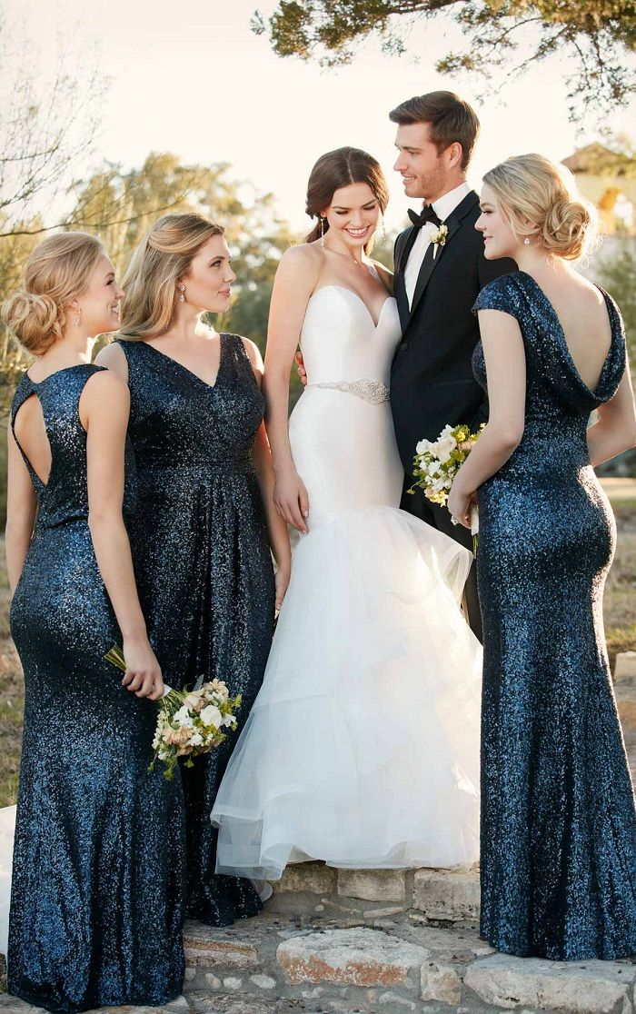 Fall Farm Style Wedding Long Sparkly Midnight Blue Bridesmaid Dresses A Relaxed And Intimate By Combining Balanced Blend