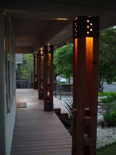 Front Porch Lighted Columns House With