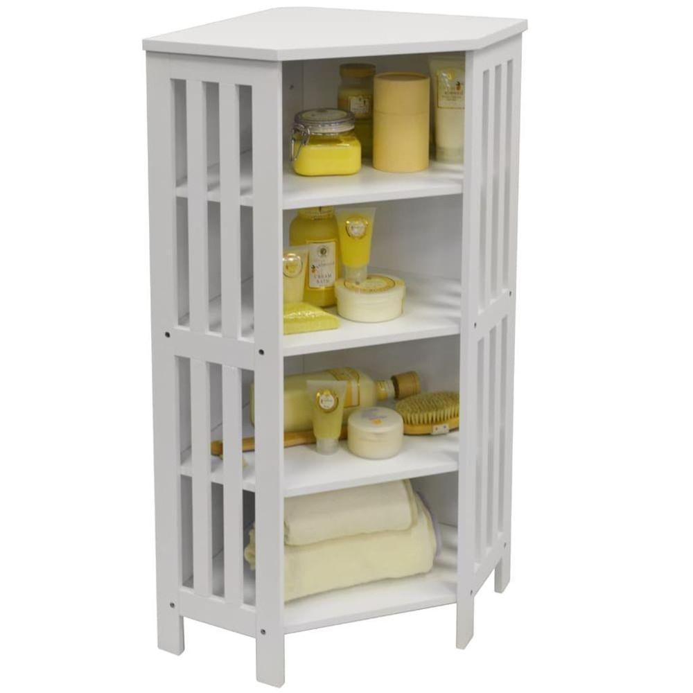 Details about white storage unit shelves display rack bathroom