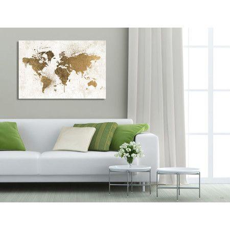 Mapamundi White Gold Canvas Print Oliver Gal
