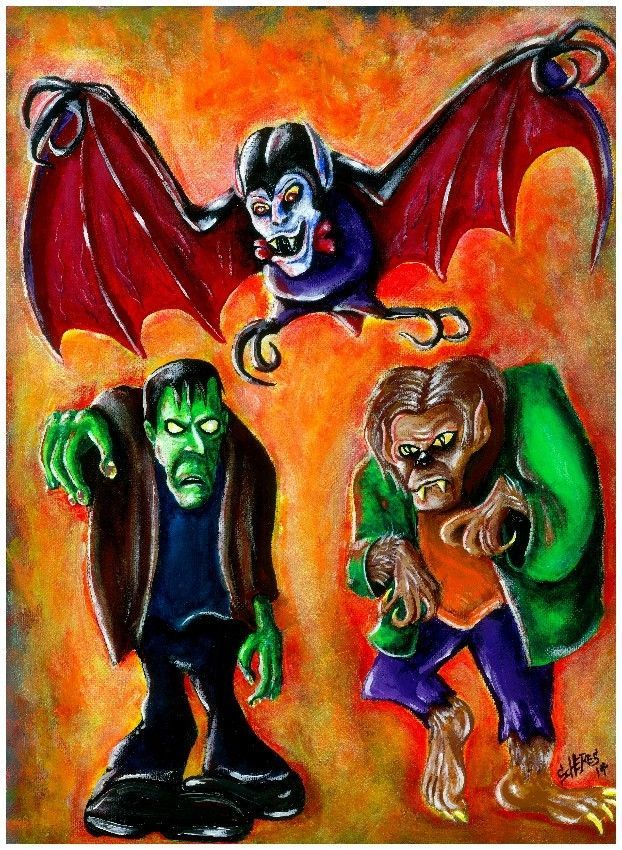 ORIGINAL MONSTER ART PAINTING SCOOBY DOO VILLAINS FRANKENSTEIN DRACULA  WOLFMAN  PopArt 8fbab4cd82