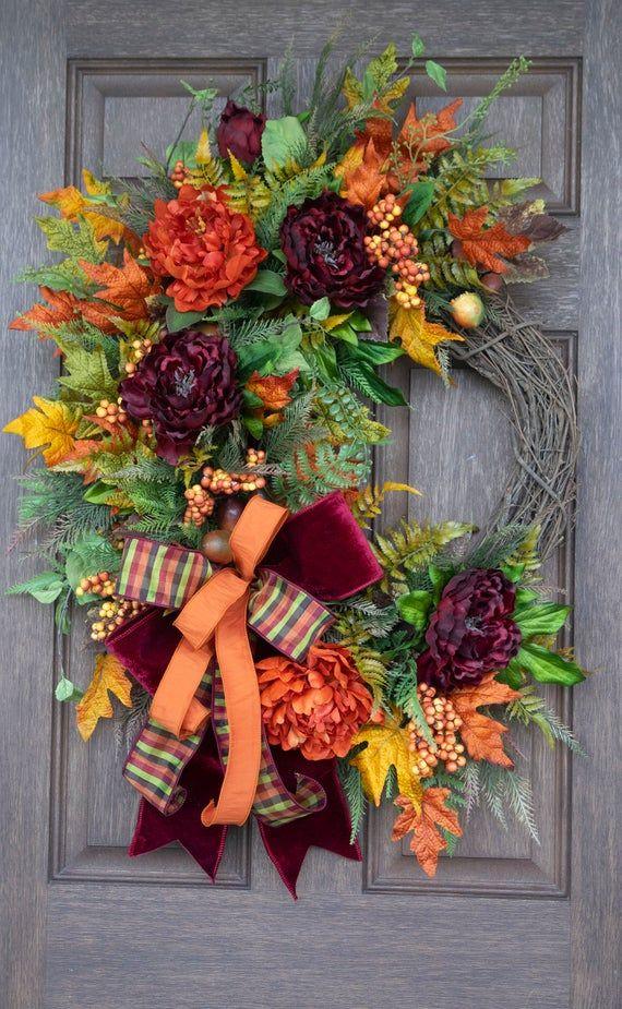 Photo of Autumn wreath, autumn decor, autumn wreath for door