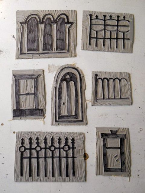 carved stamps - windows, doors  fences Stamps Pinterest - Windows Fences