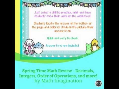 Spring Time Math Review Coloring Pages - 12 different practice pages ...
