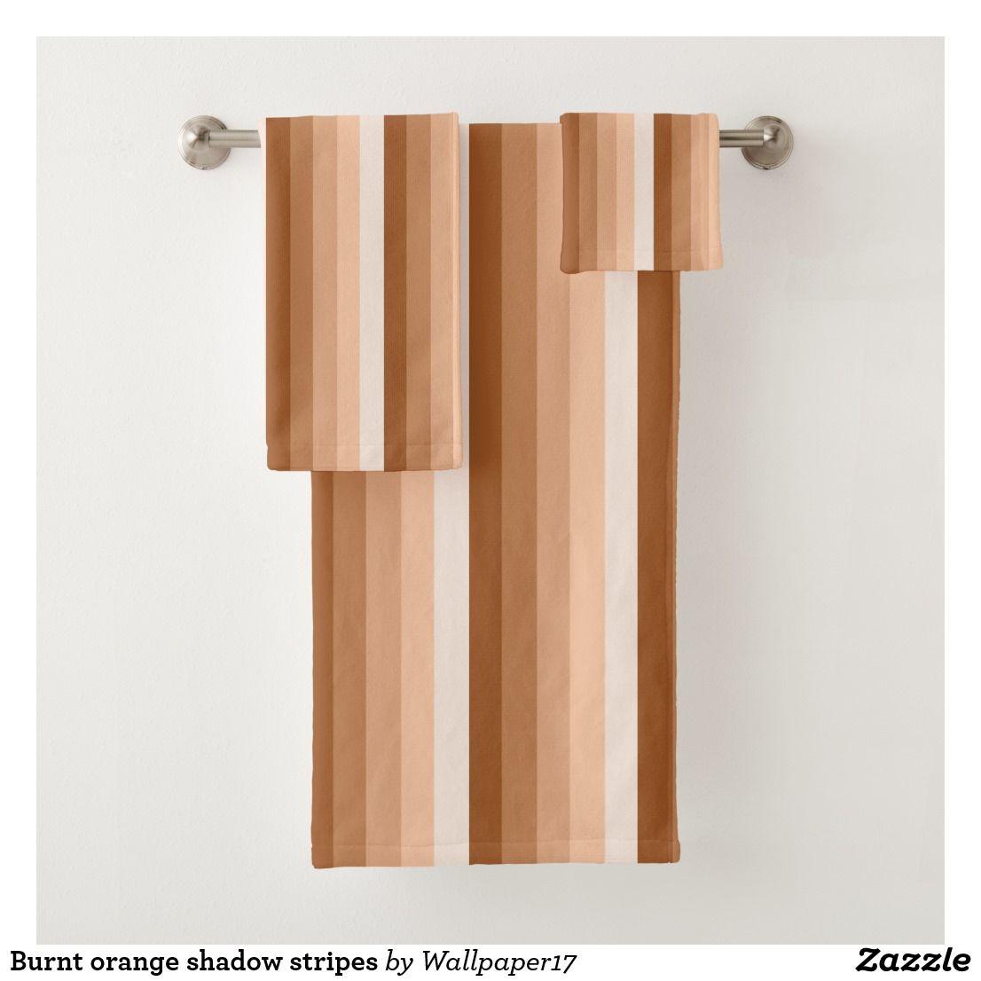 Burnt Orange Shadow Stripes Bath Towel