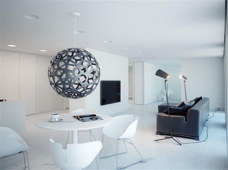 Décoration bureau moderne avec meubles en blanc neige canapé noir