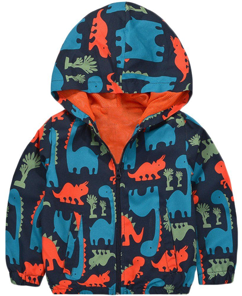 Kisbini Boy S Cartoon Dinosaur Print Zip Jacket Hooded Windproof Raincoat 5t Material High Quality Polyeste Boy Outerwear Boys Hooded Jacket Baby Boy Jackets [ 1001 x 818 Pixel ]