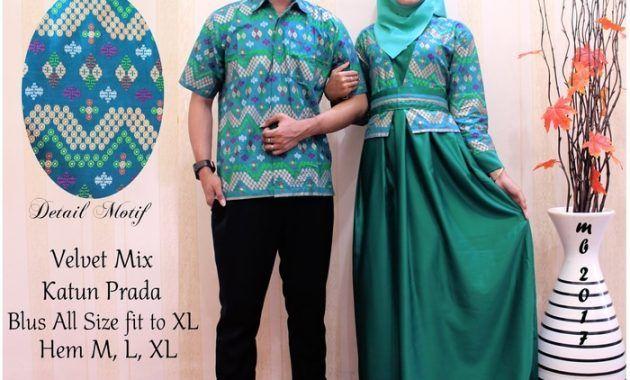 Setelan Model Gamis Batik Sarimbit Untuk Wanita Muslimah Warna Hijau