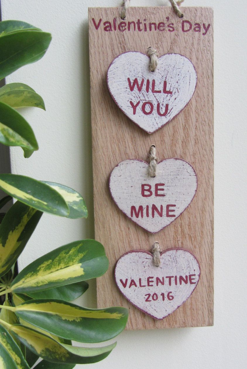 3 Hearts Rustic Valentine S Day Sign Displayed On Off Cut Oak By