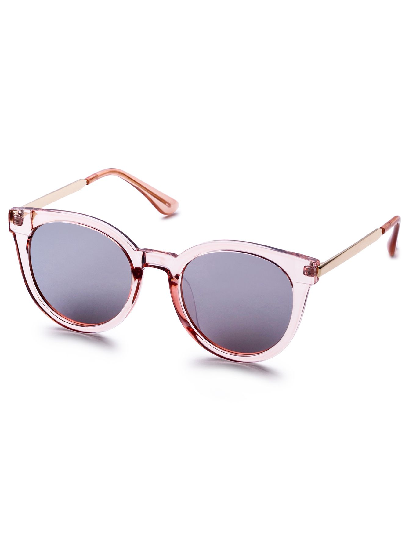 f810a81822 Pink Clear Frame Metal Arm Retro Style Sunglasses — 0.00 € -----